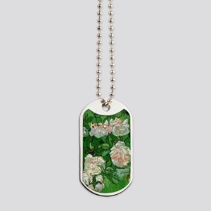Pink Roses by Vincent van Gogh Dog Tags
