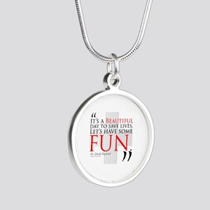 Beautiful Day to Save Lives Silver Round Necklace