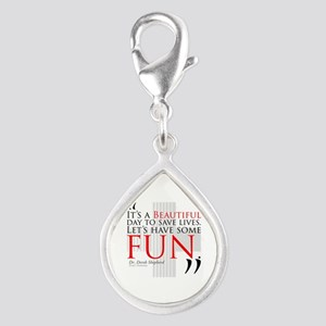 Beautiful Day to Save Lives Silver Teardrop Charm