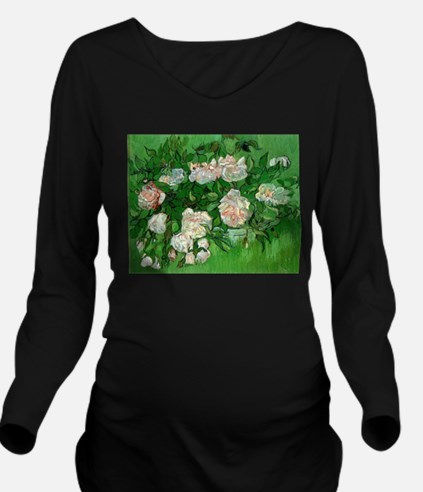 Pink Roses by Vincen Long Sleeve Maternity T-Shirt