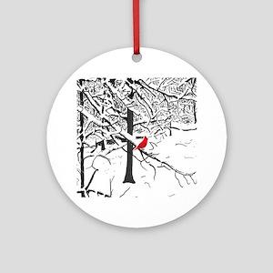 Cardinal Snow Scene Ornament (Round)
