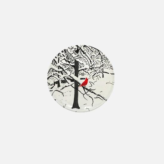 Cardinal Snow Scene Mini Button