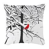 Cardinal bird Woven Pillows