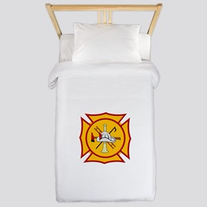 Fire department symbol yellow and red Twin Duvet
