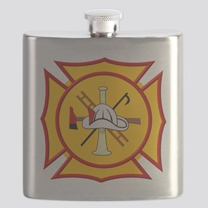 Fire department symbol yellow and red Flask