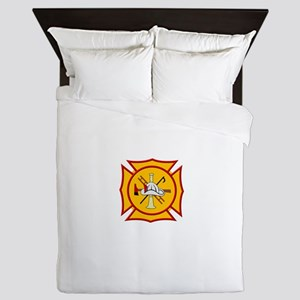Fire department symbol yellow and red Queen Duvet