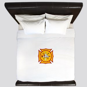 Fire department symbol yellow and red King Duvet