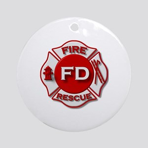 Fire department symbol red Ornament (Round)