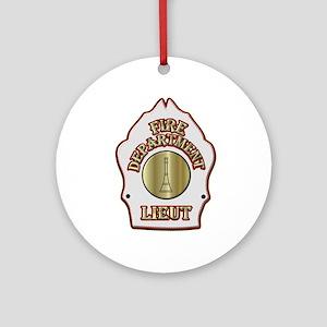 Fire department Lieutenant white Ornament (Round)