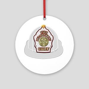 White fire chief helmet Ornament (Round)