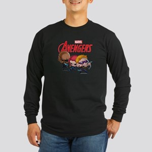 Chibi Hawkeye-Widow-Fury Long Sleeve Dark T-Shirt