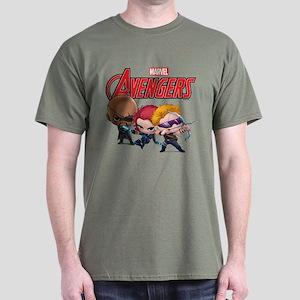 Chibi Hawkeye-Widow-Fury Stylized Dark T-Shirt