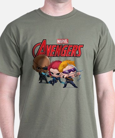 Chibi Hawkeye-Widow-Fury Stylized T-Shirt