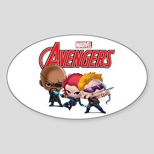 Chibi Hawkeye-Widow-Fury Stylized Sticker (Oval)