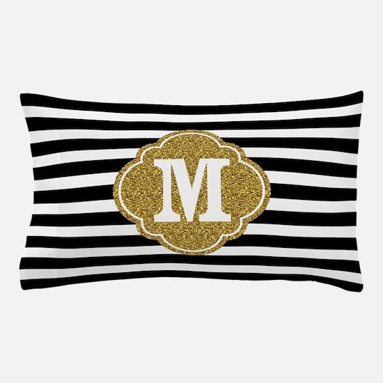 Mod Black White Stripes Pattern Gold Mongram Pillo