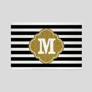 Mod Black White Stripes Pattern Gold Mongram Magne