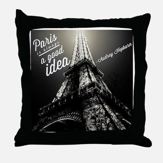 Audrey Hepburn Paris Throw Pillow