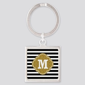Mod Black White Stripes Pattern Gold Mongram Keych