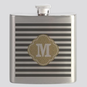 Mod Black White Stripes Pattern Gold Mongram Flask