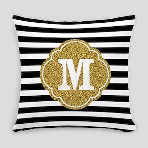 Mod Black White Stripes Pattern Gold Mongram Every