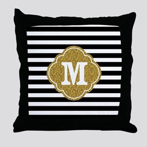 Mod Black White Stripes Pattern Gold Mongram Throw