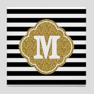 Mod Black White Stripes Pattern Gold Mongram Tile