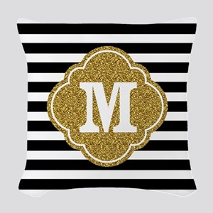 Mod Black White Stripes Pattern Gold Mongram Woven