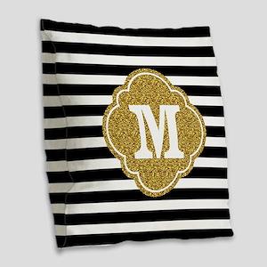 Mod Black White Stripes Pattern Gold Mongram Burla
