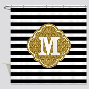 Mod Black White Stripes Pattern Gold Mongram Showe