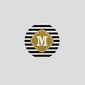 Mod Black White Stripes Pattern Gold Mongram Mini