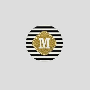 Mod Black White Stripes Pattern Gold Mongram Mini