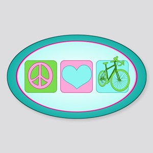 Peace Love and Cycling Sticker (Oval)