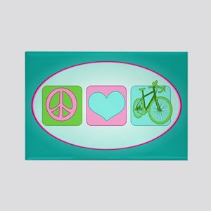 Peace Love and Cycling Rectangle Magnet