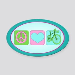 Peace Love and Cycling Oval Car Magnet
