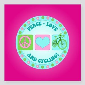 """Peace Love and Cycling Square Car Magnet 3"""" x 3"""""""