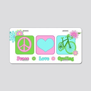 Peace Love and Cycling Aluminum License Plate