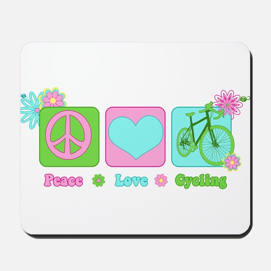 Peace Love and Cycling Mousepad