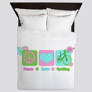 Peace Love and Cycling Queen Duvet