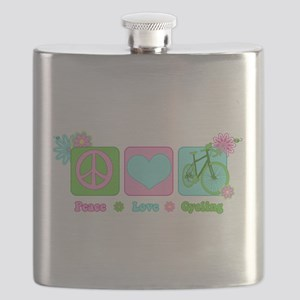 Peace Love and Cycling Flask