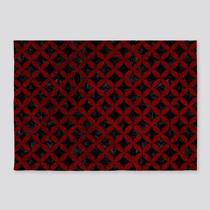 CIRCLES3 BLACK MARBLE & RED GRUNGE 5'x7'Area Rug