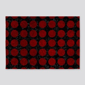 CIRCLES1 BLACK MARBLE & RED GRUNGE 5'x7'Area Rug