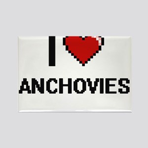 I Love Anchovies digital retro design Magnets