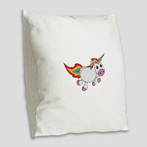 Cute Cartoon Unicorn Burlap Throw Pillow