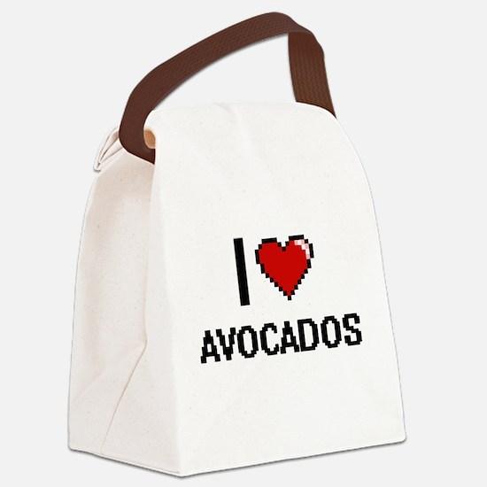 I Love Avocados digital retro des Canvas Lunch Bag