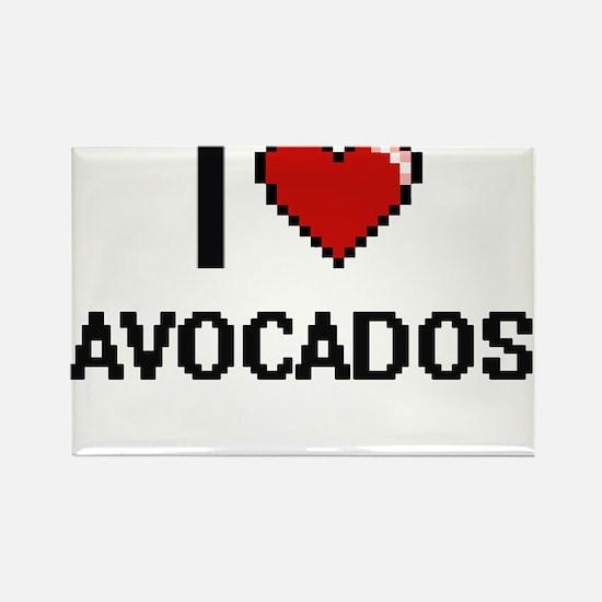 I Love Avocados digital retro design Magnets