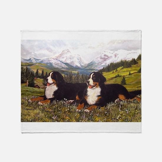 Bernese Mountain Dogs.jpg Throw Blanket