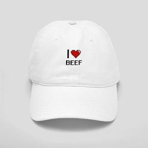 I Love Beef digital retro design Cap