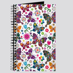 Colorful Retro Butterflies And Flowers Pat Journal