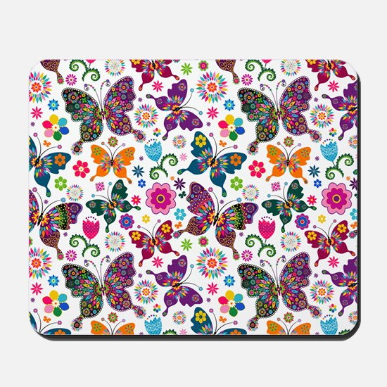 Colorful Retro Butterflies And Flowers P Mousepad