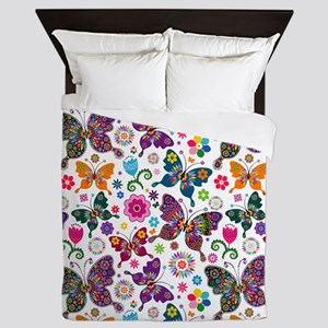 Colorful Retro Butterflies And Flowers Queen Duvet